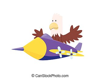 Cute eagle flying an airplane. Funny pilot flying on planes. Cartoon vector illustration isolated on a white background