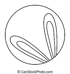 cute ears of rabbit in frame circular isolated icon
