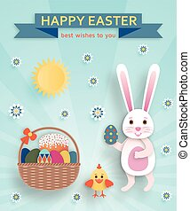 Cute Easter background in paper art style. Vector illustration.
