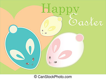 Easter bunnies - Cute Easter bunnies. Minimal design.