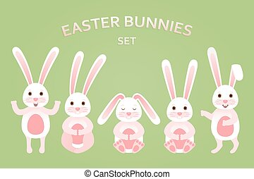 Cute Easter bunnies set in different poses. Vector illustration.