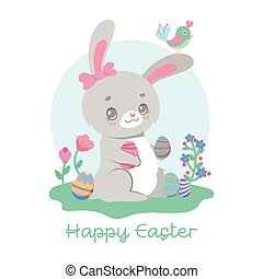 Cute easter bunny and little bird illustration