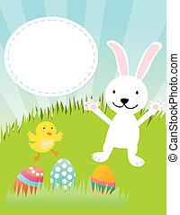 Easter bunny, chicken and eggs