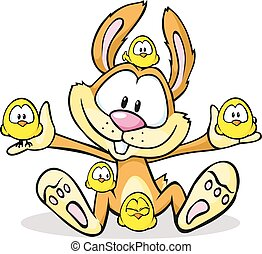 cute easter bunny hold chicken isolated