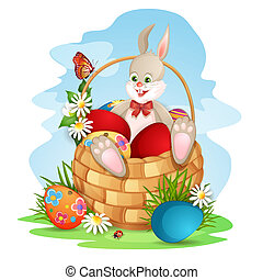 Cute Easter  bunny in basket