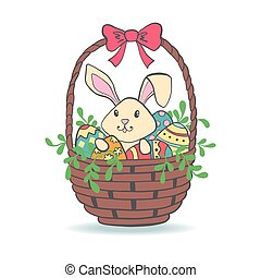 Cute Easter Bunny in basket with eggs.