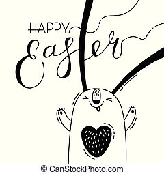 Cute easter bunny rabbit hare. Greeting card with Happy Easter writing. Vector illustration