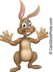 Cute Easter Bunny Rabbit Waving