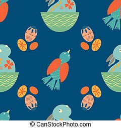 Cute Easter bunny seamless vector pattern background. ...