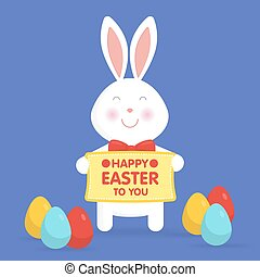 Cute Easter bunny vector illustration.