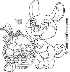 Cute Easter Bunny with a basket of eggs isolated on a white background