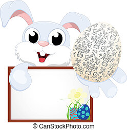 Cute Easter Bunny With Blank sign