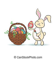 Cute Easter Bunny with colorful egg and brush.