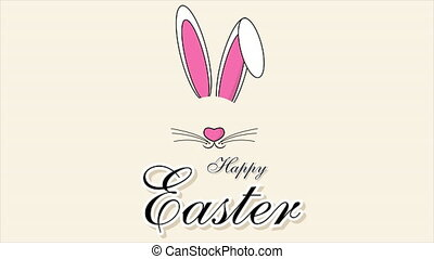 Cute easter bunny with easter typography, art video illustration.