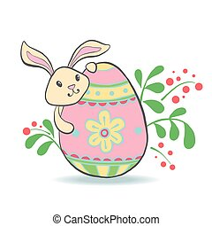Cute Easter Bunny with egg.