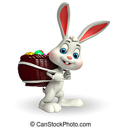 Cute Easter Bunny with eggs basket - 3d rendered...