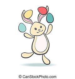 Cute Easter Bunny with eggs.