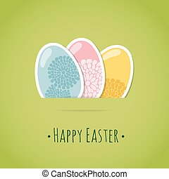 Cute easter card, easter eggs