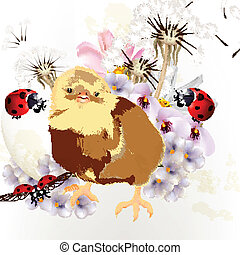 Cute Easter card with little chicke