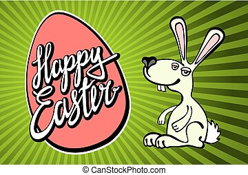 Cute easter card with paper bunny
