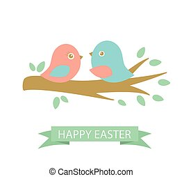 Cute easter card with two birds on the cherry tree