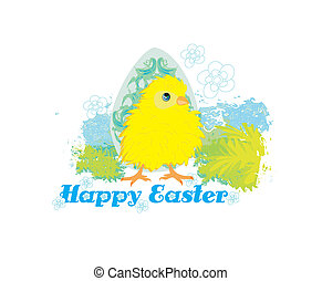 Cute Easter chick cartoon character,Happy Easter Card.