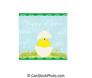 Cute Easter chicken in egg shell
