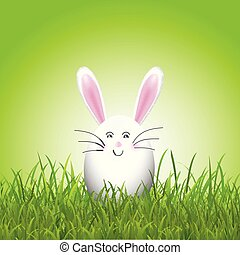 Cute easter egg bunny in grass 0602