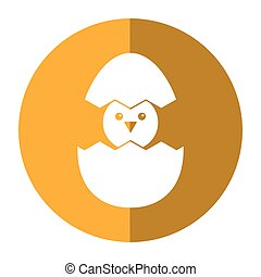 cute easter egg chick shadow