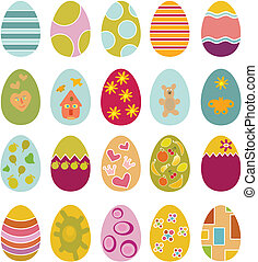cute happy easter eggs, vector