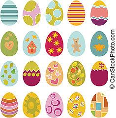 cute easter eggs - cute happy easter eggs, vector