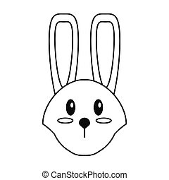 cute easter face bunny thin line