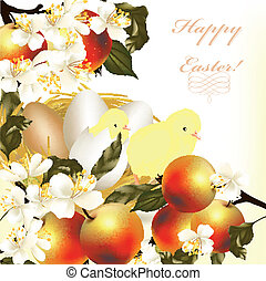 Easter greeting card with eggs