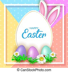Cute Easter greeting card with flowers, Easter eggs and Rabbit e
