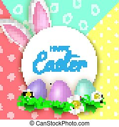 Cute Easter greeting card with flowers, Easter eggs and Rabbit