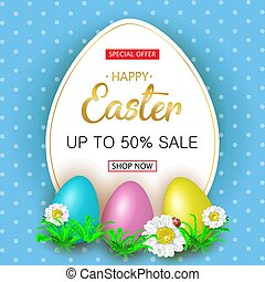 Cute Easter greeting sale banner with flowers, Easter eggs on bl