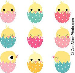 Cute Easter hatching chickens in colored eggs