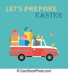 Cute Easter Rabbit in Truck with Easter Gifts