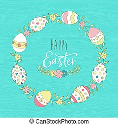 Cute Easter spring greeting card with eggs