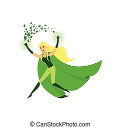 Cute eco superhero girl with super strength - Cute eco...