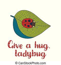 cute, ector, mão, ladybug., desenhado, cartão