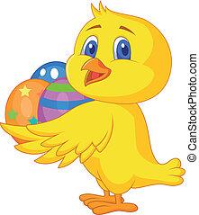 cute, eg, páscoa, galinha, caricatura