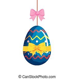cute egg easter decorated hanging with bow ribbon