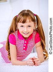 cute eight year old girl - Joyful smiling child girl having...