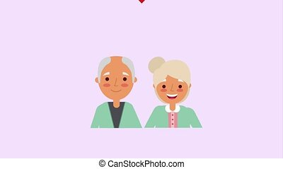 cute elderly couple portrait love heart
