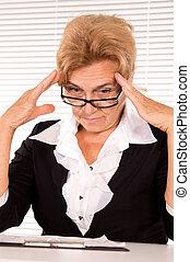 elderly woman at office