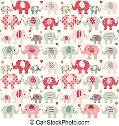 cute, elefantes, padrão, corações
