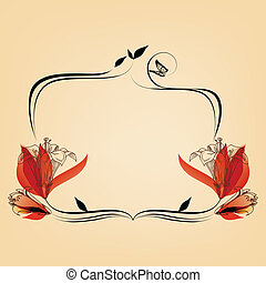 Cute elegant floral frame, copy space for text