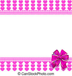 Cute elegant template with pink lined hearts pattern, space for
