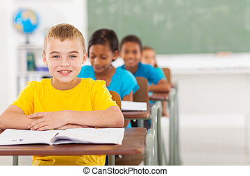 elementary schoolboy with classmates